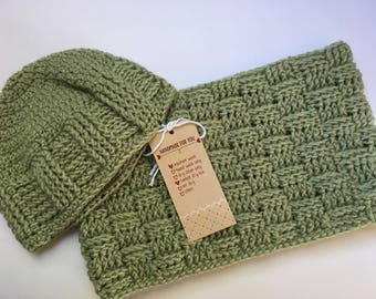 Ready to Ship // Womens hat & scarf set //adult // Baskerweave