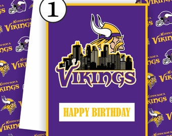 Vikings Steelers Card - Vikings Fan, Football Team Card, Minnesota Vikings,Football Greeting Card