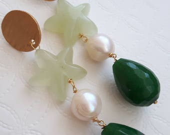White Pearl, chalcedony, green jade and brass earrings