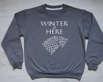 Winter is here stark sweater slouchy sweatshirt vintage womens mens sweatshirt winter house stark sigil Game of Thrones sweater dark gray