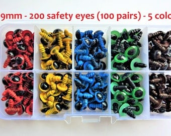 100 pairs of safety eyes, 5 different colors, 9 mm-100 pairs of 9 mm safety eyes Box, 5 different colours-Amigurumi-Eyes for toys