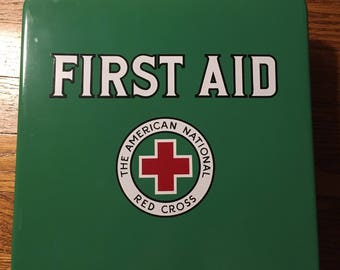 1950s The American National Red Cross First Aid Kit Complete with hanging bracket - Safety Green
