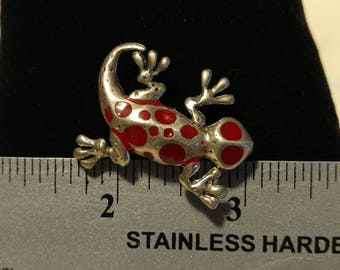 Vintage Rare Red Spotted Gecko Pin