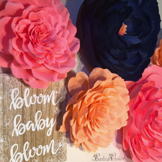 Set of 5, Crepe Paper Flower Wall, Photo Props, Baby Shower, Baby Nursery, Wedding Decor, Choose Your Color, Large Paper Flowers, Handmade