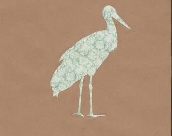 Vintage decoupage paper bird silhouette
