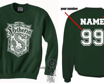 Custom on back Slyth Crest #2 White print on Forest green Crew neck Sweatshirt