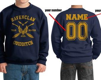 BEATER - Custom Back, Ravenc Quidditch team Beater Yellow printed on Youth / Kids Crewneck Sweatshirt