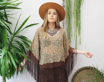 Southern Stories handmade one of a kind bohemian fringed bell sleeved top