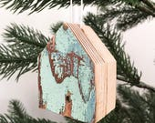 christmas ornament, christmas tree ornament, miniature, house, house theme, alberta, country christmas, reclaimed wood