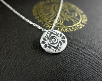 Decoratively Stamped Disc Pendant, Stamped Disc Pendant, Stamped Necklace, Native Inspired Pendant, Sterling Circle Pendant
