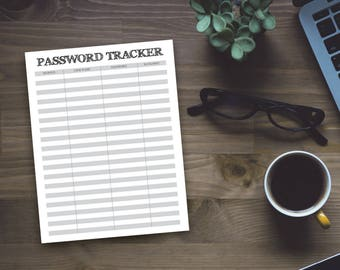 Rustic Printable Password Tracker - Printable Organizing Sheet - Office Organzing - Home Organizing - Instant Download