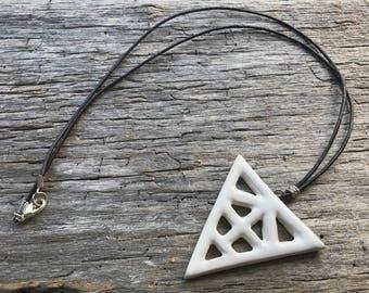 Porcelain Triangle Pendant Necklace