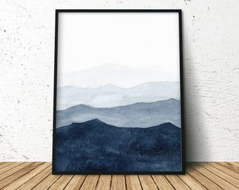 Indigo Abstract Watercolor, Indigo Watercolor Print, Modern Minimalist Painting, Abstract Indigo Print, Nature Watercolor Print