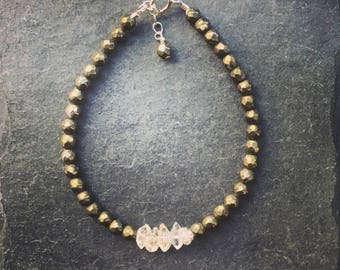 Pyrite and herkimer diamond bracelet, Herkimer diamonds