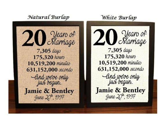 25 Years Wedding Anniversary Gifts Idea: 20th Anniversary 20 Year Anniversary 20th Anniversary Gift