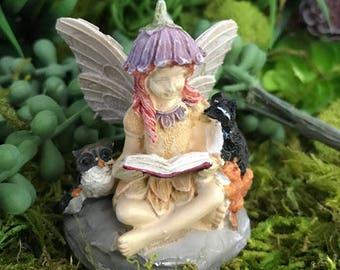 Miniature Fairy Jamie Reading to Her Animal Friends
