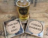 Bourbon Barrel Coasters - Custom Engraved