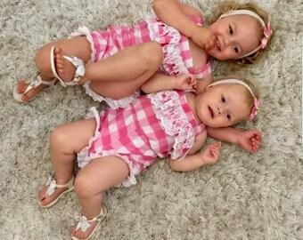 Playsuit - girls overalls -  pink  romper - short suit - All in one - Girls romper - overalls - baby romper - pink gingham - cotton playsuit