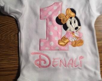 Pink Gold Baby Minnie Mouse 1st Birthday Onesie