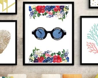 Coco Chanel, Chanel sunglasses, Chanel Vintage, Fashion illustration, Fashion print, Fashion art print, Fashion watercolor print