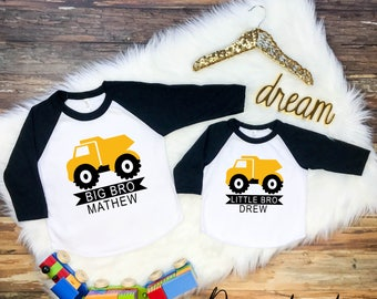 Dump Truck Sibling Shirt Set, Big Brother Shirt, Middle Brother Shirt, Little Brother Shirt, 3 Sibling Shirt Set, 3 Sibling Shirts