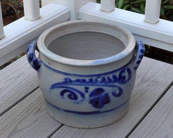 French crock, vintage planter, salt glaze pottery
