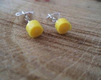 Silver earrings lemon yellow polymer clay