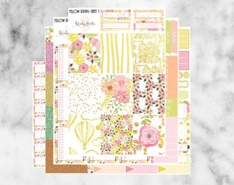 W139 Yellow Spring ECLP VERTICAL Weekly Kit, Planner Stickers, Erin Condren, Sticker Kit, Spring Stickers, Spring Kit, Bloom, Floral, Yellow