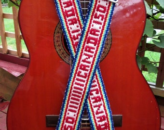 Handwoven Guitar Strap, Celebrating Canada's 150th Birthday, Free Leather Headstock Strao or Banjo Strap Adapters