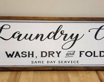 Laundry Room Sign, Laundry Room Decor, Laundry Co Sign, Laundry Room, Farmhouse Style Sign, Hand Painted Sign, Framed Wooden Sign