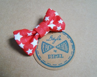 bow tie red star woman girl hair clip