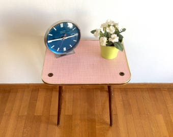 Vintage Pink Formica Table, Side Table, End Table, Night Stand, Mid Century Small Coffee Table, 60's Plant Stand, Vintage Flower Stool.