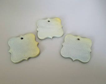 Set of three, handmade, clay, blue/green, gift tags, ornaments