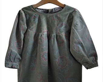 Grey velvet embroidered dress