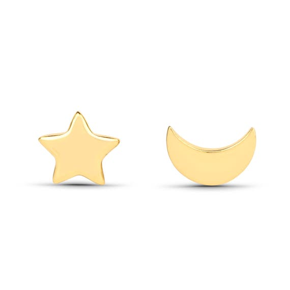Lovely new sterling silver or 14 ct gold  Moon and Star stud earrings