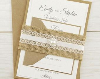SAMPLE * Rustic Glamour Parcel Wrap Wedding Invitation