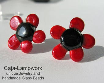 Big black and red flower earrings