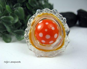 Change attachment, removable top, orange / white, dotted Lampwork,