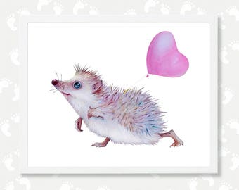 Valentines Day Decor Hedgehog Digital Download Print Woodland Nursery Wall Decor Animal with Balloon You are Loved Printable Art Pink Heart