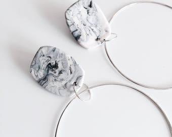 Marble oversized hoop earrings, minimalistic earrings