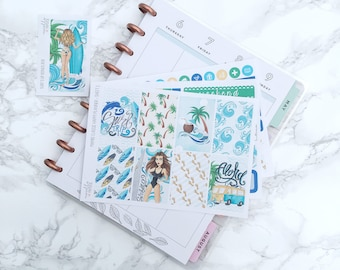 MATTE Classic HP Surf's Up Planner Sticker Kit (3 Sheets) & FREE Bonus Box Girl Sticker - For Classic Happy Planners