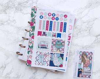 MATTE Mini HP Pamper & Purr Planner Sticker Kit with Free Bonus Box Girl Sticker - For MINI Happy Planners