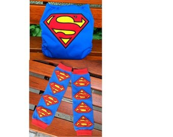 Cloth diaper and Leg warmer matching Set --- HapPee Bum Embroidery--- All-In-One Cloth Diaper