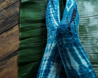Indigo Snake Leggings/ Tie Dye Yoga Leggings/ Indigo Yoga Leggings