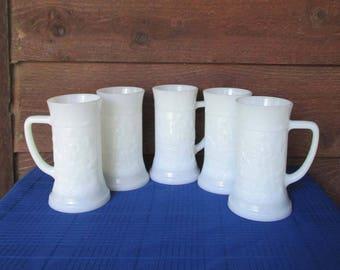 Vintage Barware | White Milk Glass Beer Steins Set | Groomsmen Gift | Vintage Glass Mugs