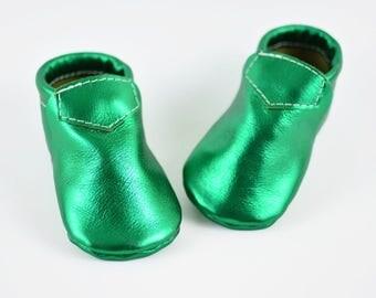 ON SALE! Baby Moccasins Metal Green Shamrock Saint Patricks Loafer Moccs Genuine Leather Infant Toddler Boy Girl Handmade Soft Soled Shoes