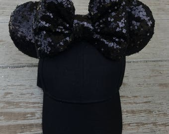 Black on black mouse ears hat