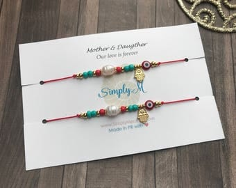 Madre e Hija bracelet set. Hilo rojo de amor infinito. Mother and Daughter bracelets set.Inspirational White Card