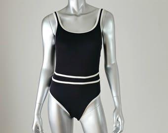 90s Vintage Jantzen Swimsuit | Vintage One Piece Swimsuit | High Cut One Piece | High Cut Swimsuit | Black Swimsuit | Low Back Swimsuit |