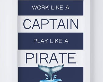 Captain & Pirate Nautical Digital Print | Nursery Wall Art | Nautical Wall Art | Whale Nursery